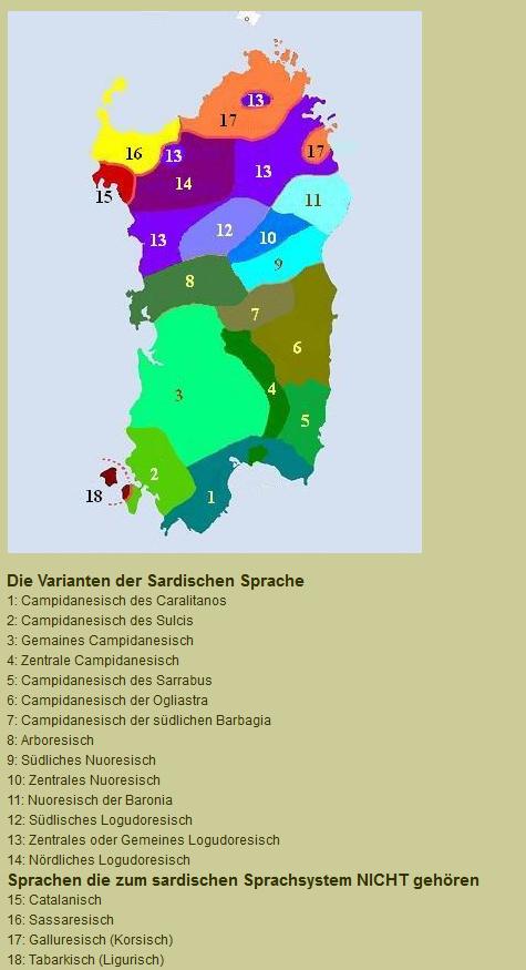 Die Varianten der Sardischen Sprache