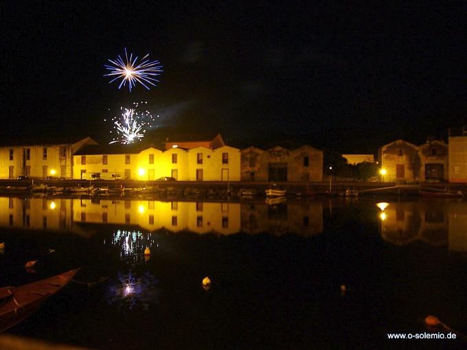 Sardinien, Bosa bei Nacht, Temo