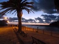 Bosa Marina, Temomuendung im Sonnenuntergang