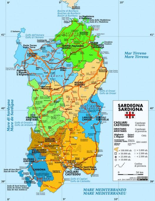 Karte Sardinien Strände.Top 10 Punto Medio Noticias Sardinien Karte Ostküste
