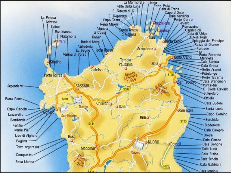 Karte Sardinien Strände.Sardinienkarte Der Strände Im Norden O Solemio