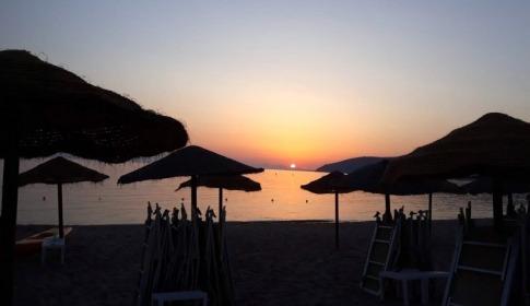 Sonnenuntergang am Geremeas due Strand